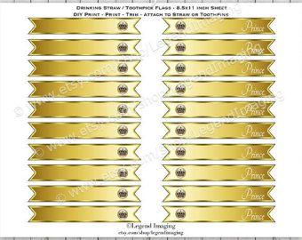 Royal Blue and Gold Prince Water Bottle Labels by LegendImaging