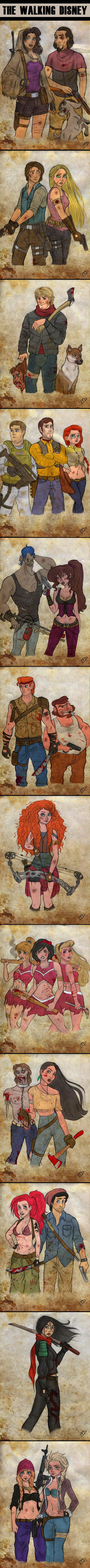 People don't generally think of Disney characters as particularly scary (unless you're talking about villains like Ursula or Maleficent, anyway). There's certainly nothing frightening about Disney's princesses and princes, right? Think again -- things are getting post-apocalyptic. DeviantART user Kasami-Sensei has re-envisioned the sweet and innocent protagonists of several Disney films in the style of zombie hunters (and a zombie) from The Walking Dead...
