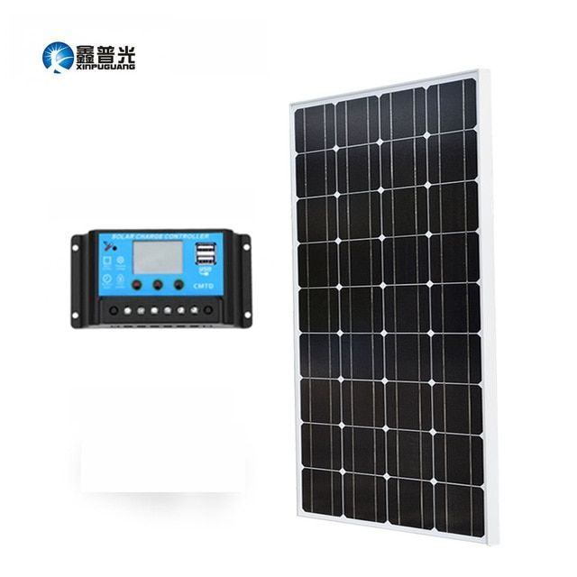 Xinpuguang 100w Solar Panel 10a Controller Monocrystalline Cell For 12v Battery Power Charger Home Solar Mod Solar Technology Solar Panel System Solar Energy