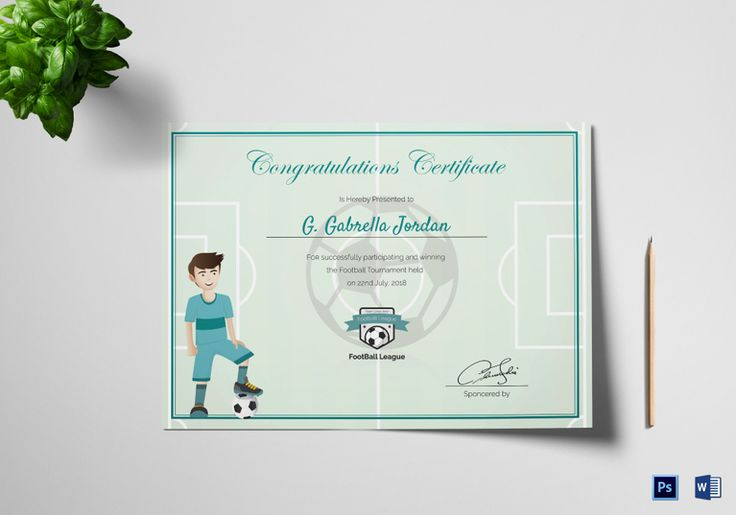 Sports Award Winning Congratulation Certificate Template  $12  Formats Included : MS Word, Photoshop   File Size : 11.69x8.26 Inchs  #Certificates #Certificatedesigns #AwardCertificates