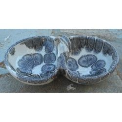 """Double Bowl /or nut bowl """"black drops"""" lead-free, handmade by Tinos Ceramics"""