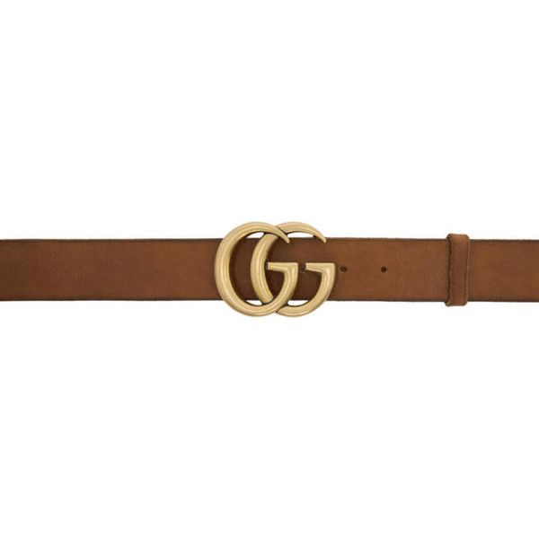 Gucci Brown Leather GG Belt (45070 DZD) ❤ liked on Polyvore featuring accessories, belts, brown, studded leather belt, studded belt, gucci, brown buckle belt and logo belts