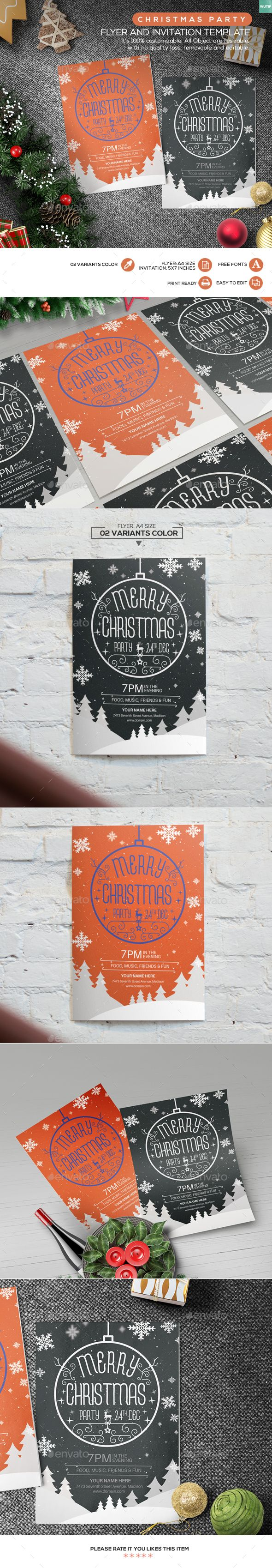 Christmas Party Flyer and Invitation Template PSD #design Download: http://graphicriver.net/item/christmas-party-flyer-and-invitation-template/13643037?ref=ksioks