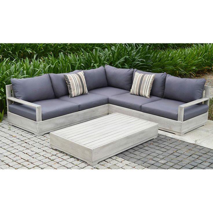null Beranda 3-Piece Eucalyptus Wood Outdoor Sectional Set with Cushions and Pillows
