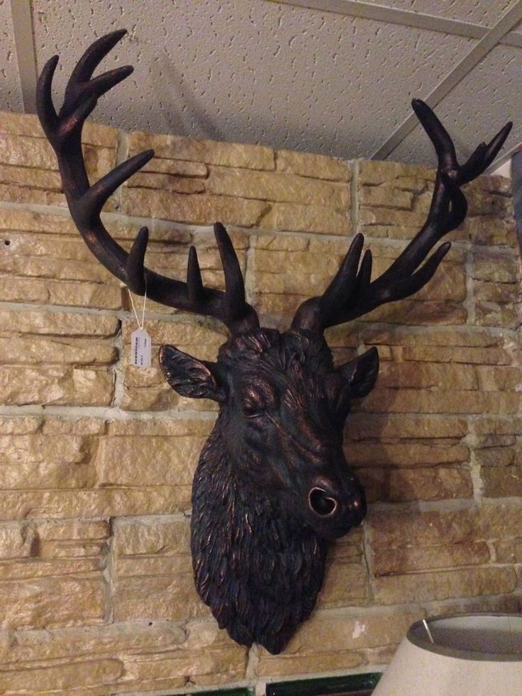 Stunning Large Antiqued Bronze Stag Head - Wall Mounted Hanging Statue Ornament
