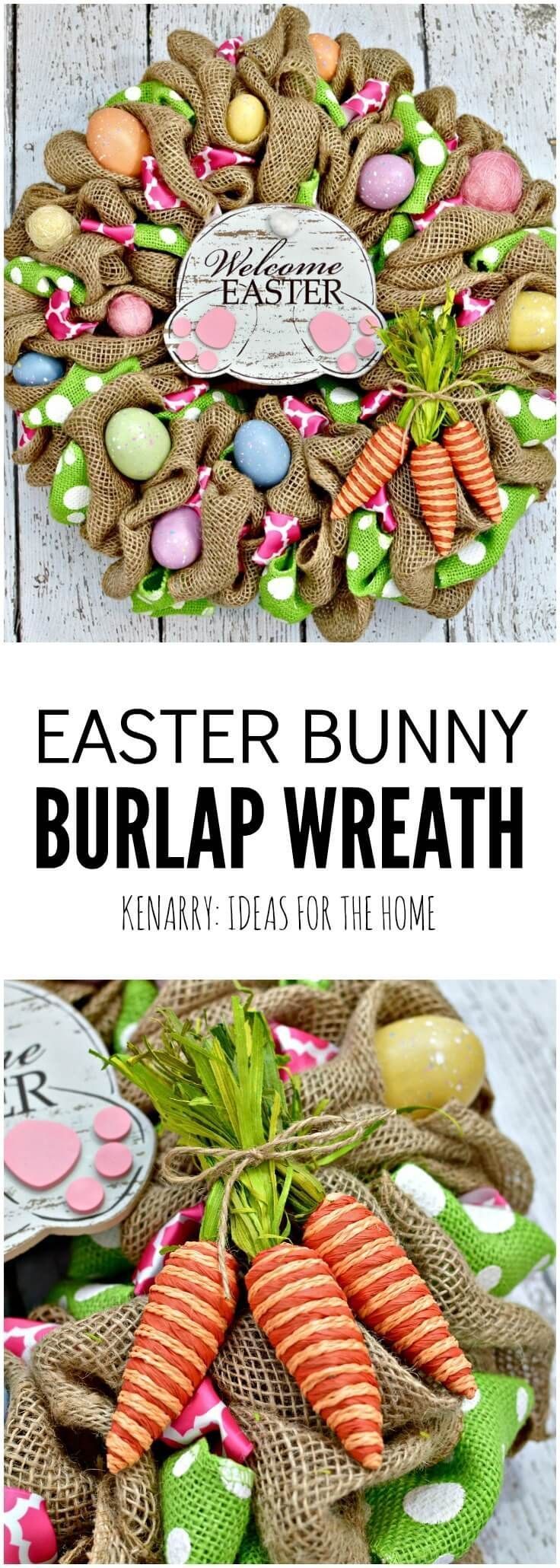 This Easter Bunny Burlap Wreath is so cute! I especially love the bunny butt, ca…