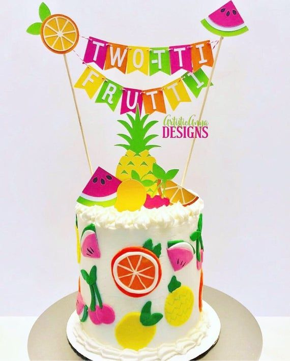 Tutti Fruity Birthday Decorations Fruit 2nd Birthday Decorations Twotti Fruity Cake Topper Two-tti Frutti Sign TWOtti Frutti Cake Topper
