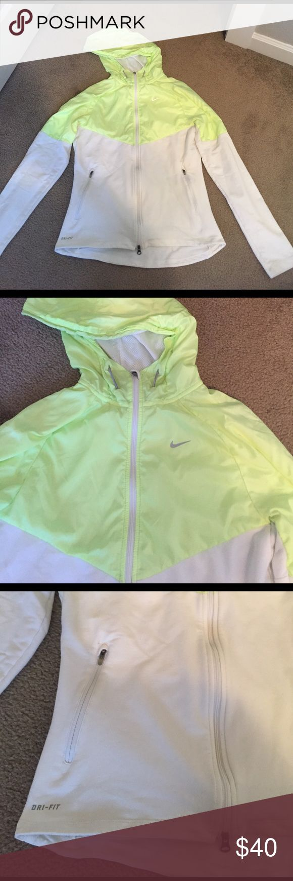 Women's Nike Running Jacket Super cute white and yellow women's running jacket from Nike. Dri-fit, gently worn and in good condition, size small. Nike Tops Sweatshirts & Hoodies