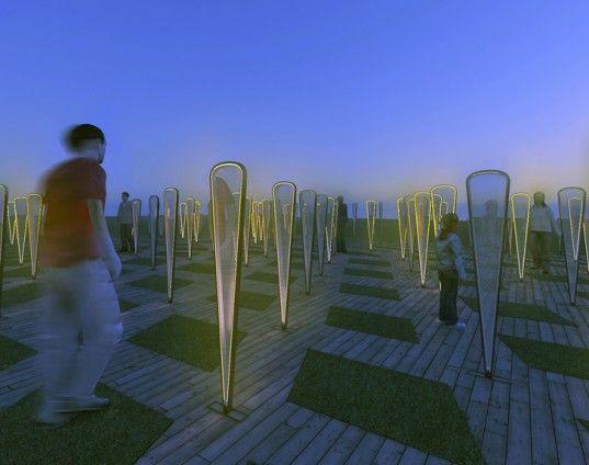 Urban Field: kunstbomen vangen in stad wind voor verlichting en verzamelen water voor irrigatie.