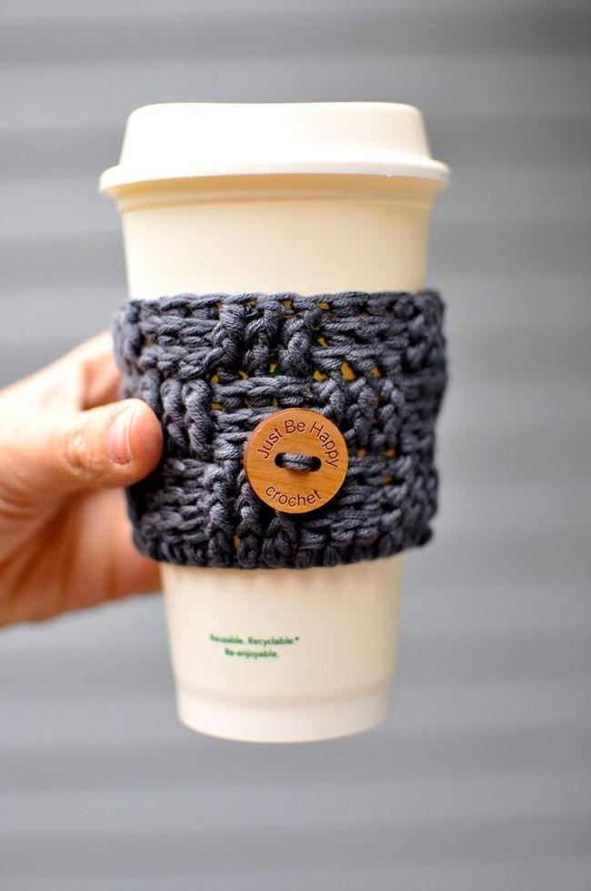 Free crochet pattern - basketweave coffee cozy