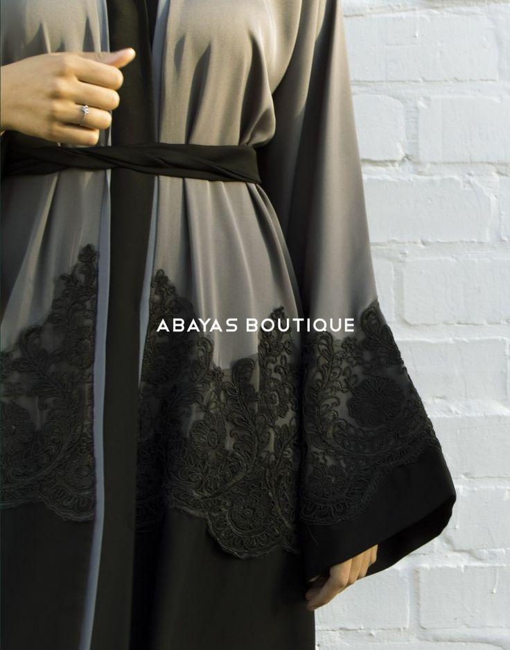 Grey and Black Lace Open Abaya - Abayas Boutique