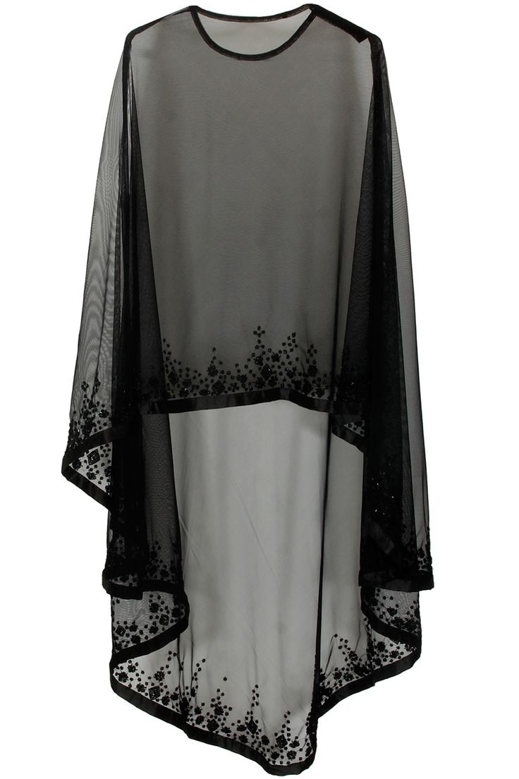 Black floral beads embroidered cape. Not dupatta but quite close to the idea.
