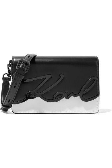 Karl Lagerfeld - K/metal Signature Two-tone Embellished Leather Shoulder Bag - White