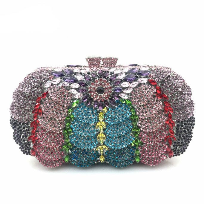 Super Hollow Out Flower Women Rhinestone Makeup Bag Women Messenger Bag Evening Clutch Bag Handbag Women Rhinestone Clutch Bag