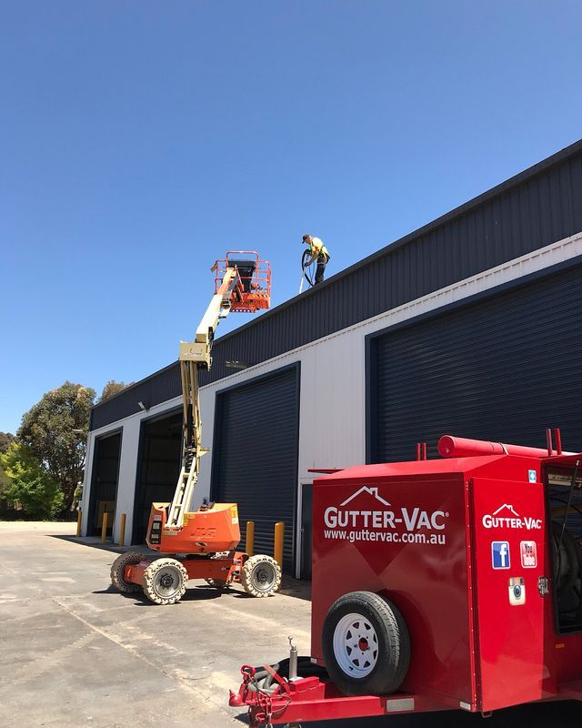 A great photo of Gutter-Vac Central West NSW busy completing a commercial job.