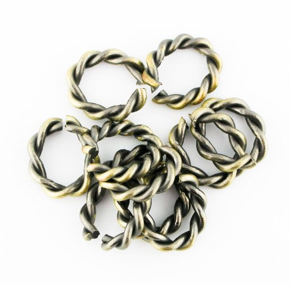 10pcs Antique Brass Bronze Twisted Oval by FancyGemsandFindings, $5.99