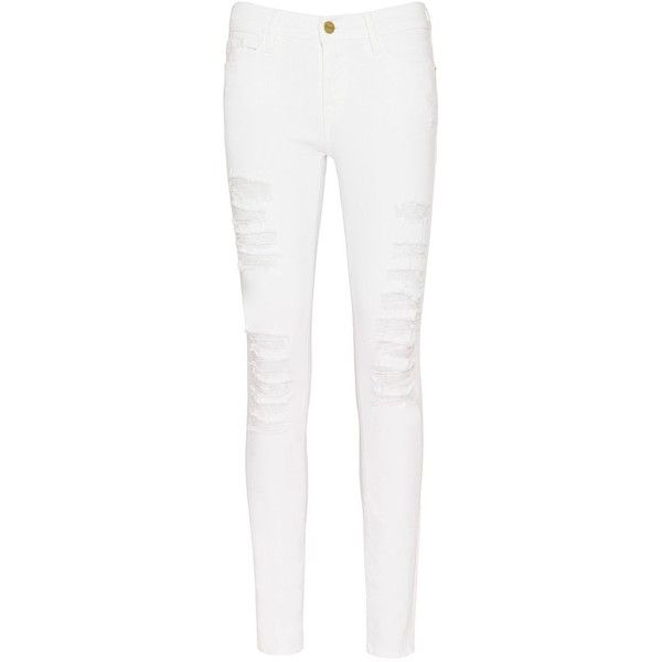 FRAME Le Color Rip Skinny: White ($200) ❤ liked on Polyvore featuring jeans, white, white jeans, torn skinny jeans, distressed jeans, ripped jeans and skinny fit jeans