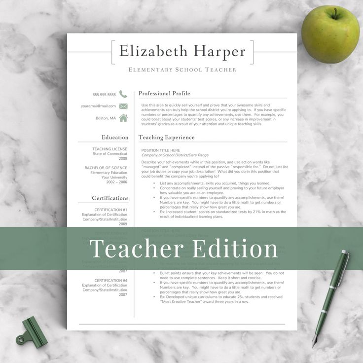 Teacher Resume Template for Word & Pages 1-3 Page Resume for