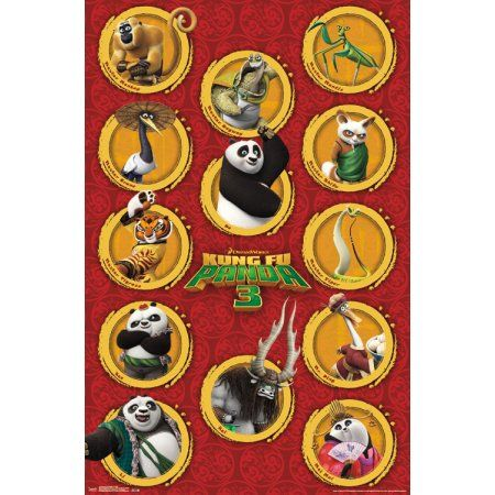 Trends International Kung Fu Panda 3 Grid Wall Poster 22.375 inch x 34 inch, Multicolor