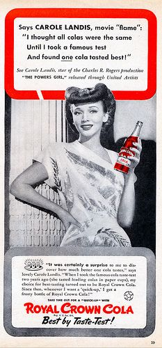 Carole Landis for Royal Crown Cola from the February 1943 Hollywood magazine