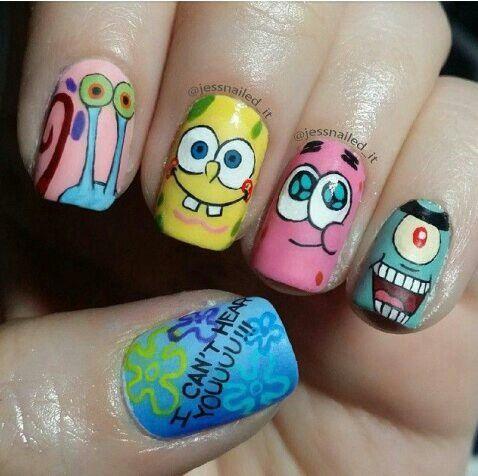 Spongebob Nail Designs Gallery Nail Art And Nail Design Ideas - Spongebob nail decals