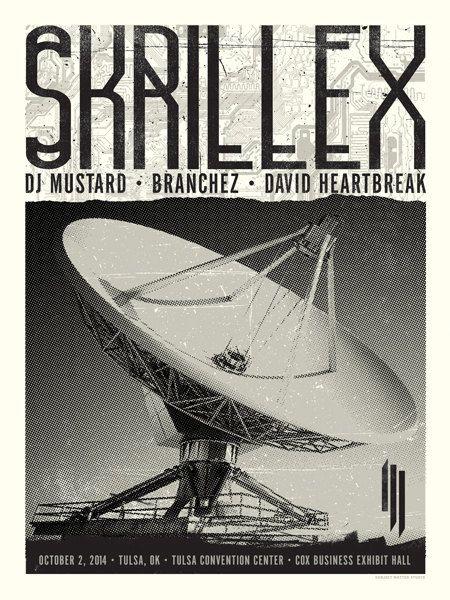 Skrillex Concert Poster Tulsa OK by SubjectMatterStudio on Etsy