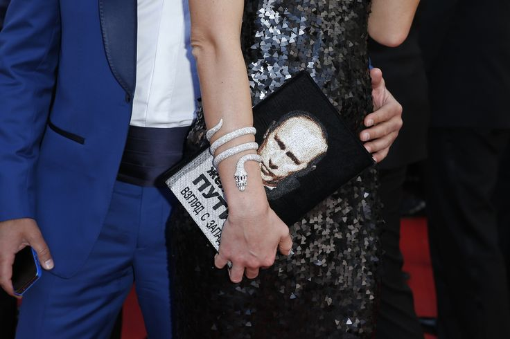 """Putin bag Handbag belonging to a pictorial guest Russian president, Vladimir Putin, in the screening of """"Youth"""" at Cannes in 2015."""