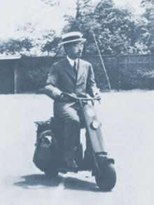 Emperor Showa ride on the scooter