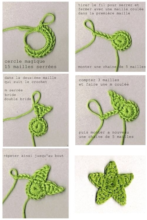 DIY tutorial crochet star - also video here http://gedane-tutos.over-blog.com/article-video-etoile-en-crochet-102753946.html