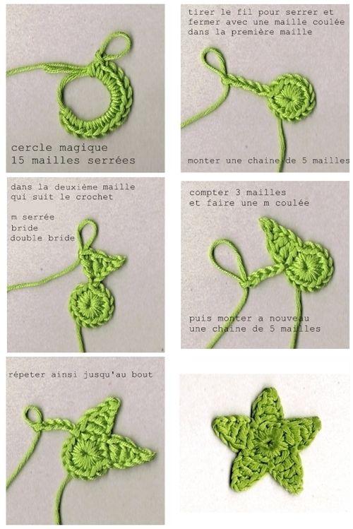 DIY tutorial crochet star - also video here http://gedane-tutos.over-blog.com/article-video-etoile-en-crochet-102753946.html