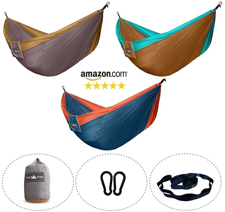 NEW YEAR SALE Tavorland Camping Hammock, Portable Ultralight Double Parachute Hammock with Free Tree Straps for Backpacking Back Yard Beach Travel * Additional details at the pin image, click it  : Backpacking gear