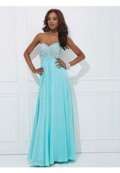 A-line Strapless Sleeveless Chiffon Prom Dresses With Beaded #FJ524