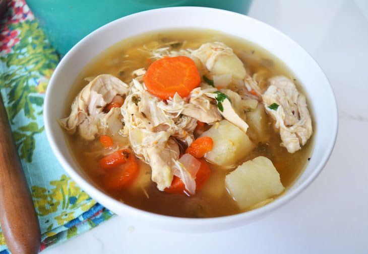 Mama's Best Chicken Soup Recipe Soups with olive oil, onions, carrots, potatoes, chicken stock, salt, pepper, chicken tenderloin, flat leaf parsley, fresh basil, thyme, chicken broth