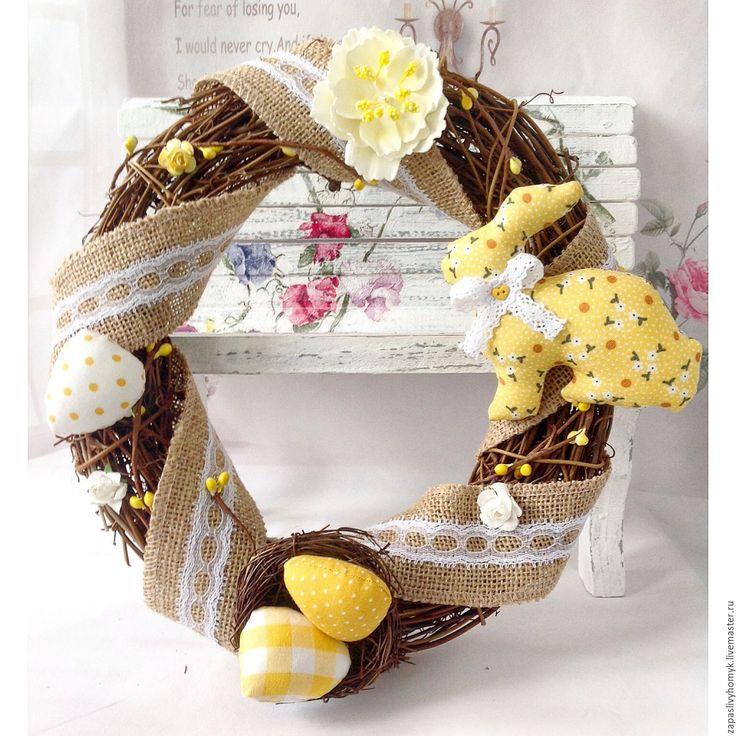Купить Пасхальный венок - желтый, венок, Пасха, пасхальный декор, пасхальный венок, украшение интерьера