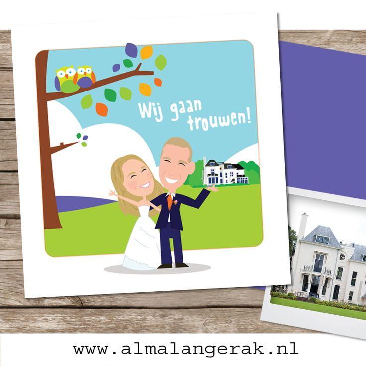 Hoera, nog een paar maanden geduld en dan gaan Simone en Remco #trouwen. Op basis van een #geboortekaartje met #uilen van mijn website maakte ik hun #trouwkaarten. De kleuren zijn aangepast aan het #kleurthema van hun dag.  Verder staat op de #achtergrond #Landgoed te Werve, waar het trouwfeest gaat plaatsvinden. (binnen in de kaart staat dit prachtige landhuis nog ietsje groter afgebeeld).   #landhuis #kasteel #uiltjes #trouwkaart #laten #tekenen #cartoon