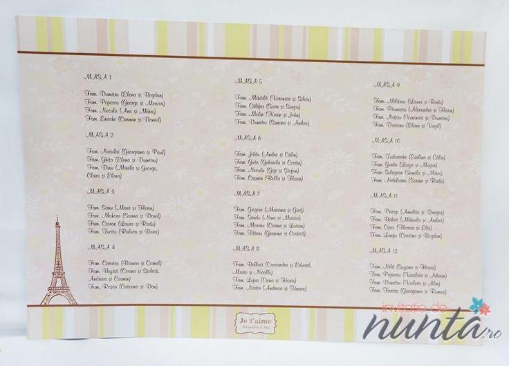 Lista cu asezarea invitatilor la mese cu model floral Je t'aime. Un model ce va completa cu succes un decor de nunta cu tematica Paris.