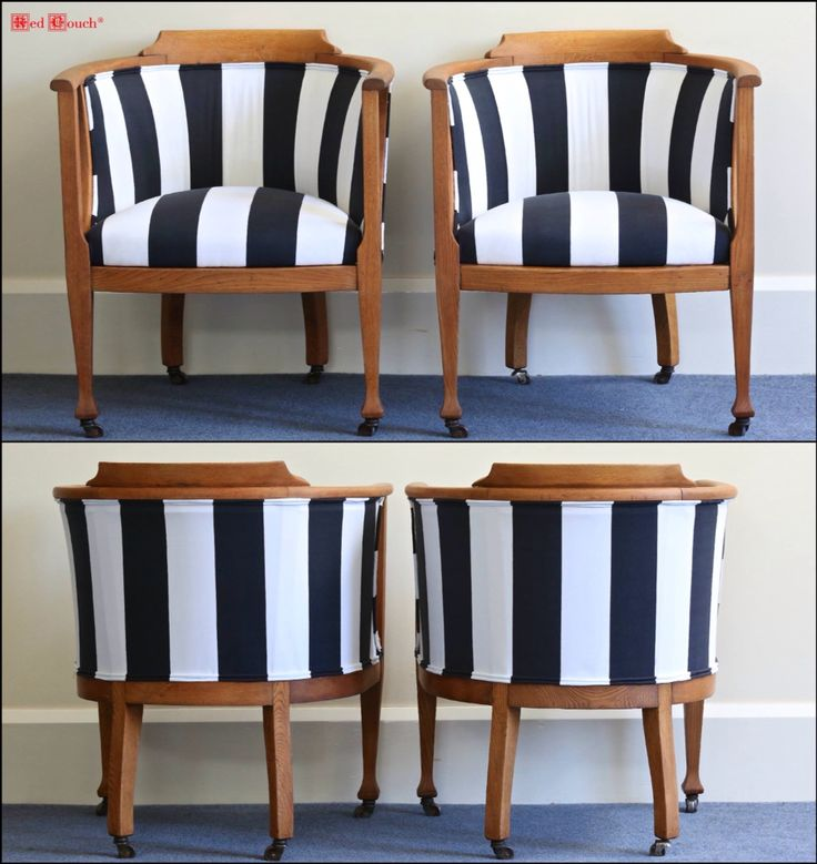 Antique oak bowed back tub chairs. Recovered with canvas in Black white stripes. Stunning!