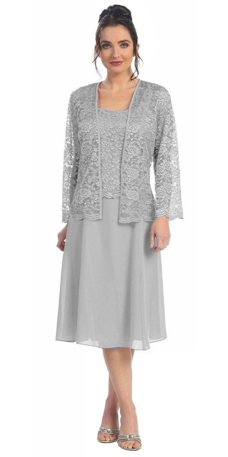 This short A line modest knee length silver dress is perfect for mother of the bride or another formal occasion. This lace with pebble dress has wide sleeveless tank straps and also includes a matching long sleeve lace bolero jacket. A classy dress for many different occasions! Design: Sally Fashion Item number: 8485 Material: chiffon pebble with lace. 100% polyester. Fully lined. No cup inserts. Back zipper. Approximately 46 inches from top of shoulder to hem. Approximately 40 inches from…