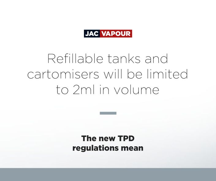 The #TPD means that refillable #ecig tanks and cartomisers will be limited to 2ml in volume. #ecig #ecigs #vaping #regulations