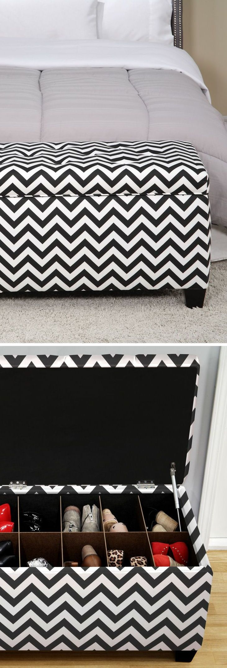 Chevron Upholstered Shoe Storage Bench // Black & White
