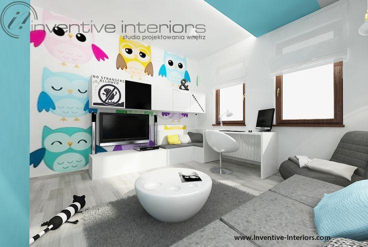 Projekt pokoju dziecięcego Inventive Interiors - szaro niebieski pokój z fototapetą