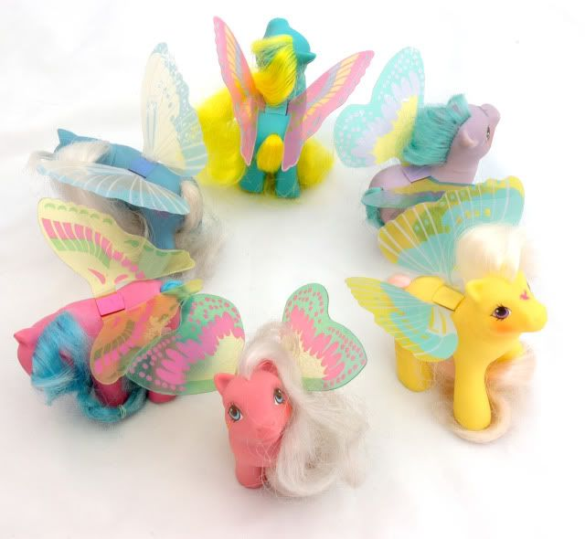 Flutter Ponies! I remember they premiered in the MLP Movie The Secret of the Smooze! It was a huge frickin deal. I was 5.