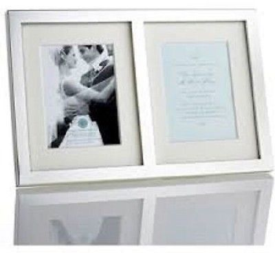 Martha Stewart Collection Silver Plated Double Wedding Invitation Photo Frame