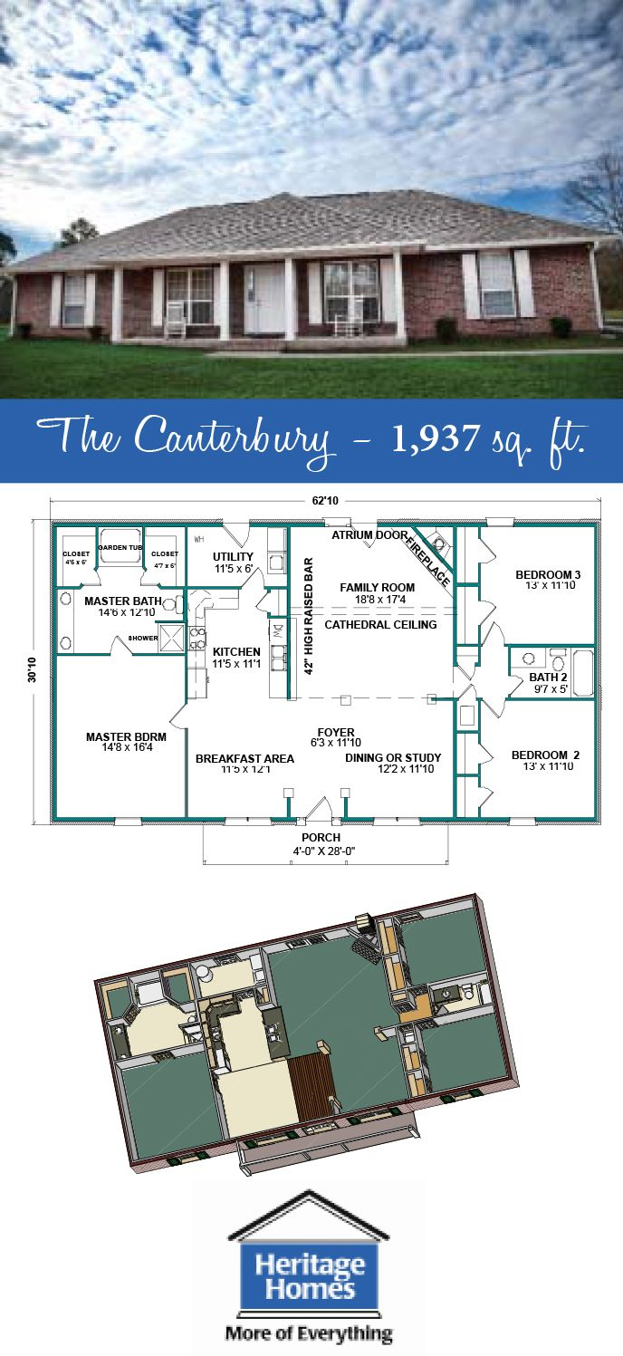 1 900 2 000 Sq Ft Floor Plan The Canterbury Is 1 937 Square Feet 3 Bedroom 2 Bathroom Home With An Open Concept House Floor Plans Floor Plans House Plans