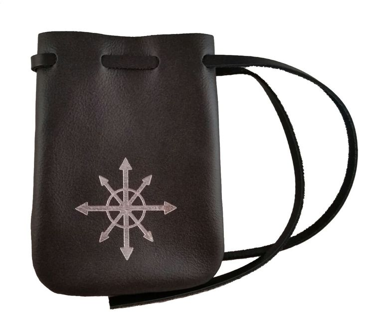 "Leather Chaos Dice Bag - Medium 4.5"" x 6"" Drawstring Pouch (Black Leather with Silver). 4.5"" x 6"" Size Will Hold Approximately 50 Dice. Each Genuine Leather Pouch is Unique. Leather Lace Drawstring. Handcrafted in the USA. Can be used for marbles, dice, coins, cards, and many other purposes!."
