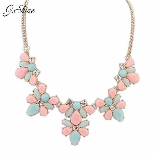 Fashion New Gold Plated Elegant Flower Crystal Choker Necklace Women Statement Necklaces & Pendants Gift Collier N0301