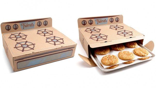Thelma's. Empresa de envíos de galletas. El packaging viene a reproducir el horno de la bisabuela del actual dueño, cuya receta se sigue utizando. La caja, además de mantener el calor, facilita las galletas como cuando se sacan en la bandeja del horno.