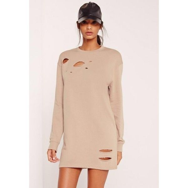 Missguided Ripped Oversized Jumper Dress ($40) ❤ liked on Polyvore featuring dresses, grey, ripped sweater dress, gray sweater dress, oversized sweater dress, torn dress and missguided dresses