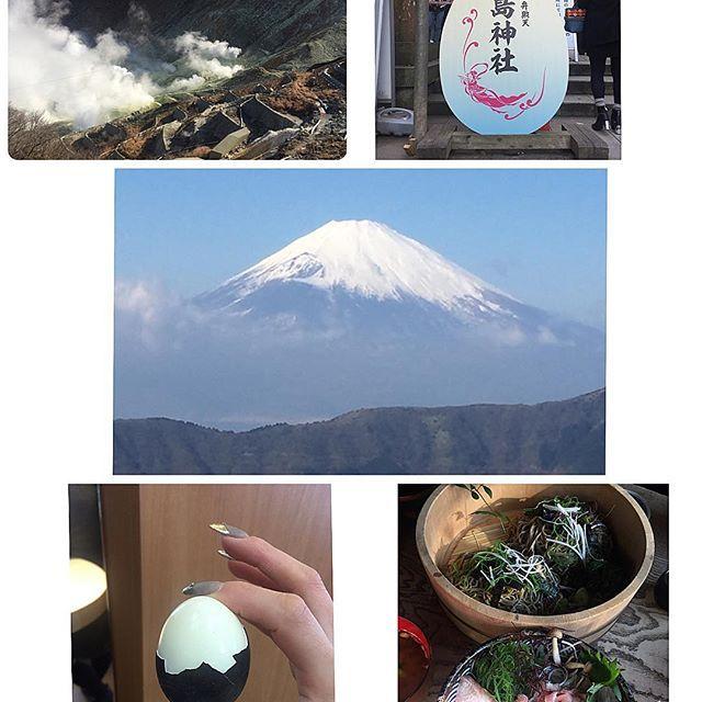 【shoukoniino】さんのInstagramをピンしています。 《朝起きて 朝食食べて のーんびり温泉入って大涌谷行ったよ♡ 名物の黒たまご食べた♡ 天気が良すぎたから富士山が超綺麗だった♡ 夕食と朝食がフレンチだったせいか2人してもう醤油とか出汁とか体が和を欲しすぎて大至急海鮮丼とお蕎麦食べに行った😂w 帰りは海のすぐ側にある江島神社でなむなむ👏して帰ったよ❤ あー楽しかった👐❤ #箱根 #大涌谷 #大涌谷くろたまご館  #黒たまご #富士山 #生鮪丼 #自家製お蕎麦  #江島神社 #海》