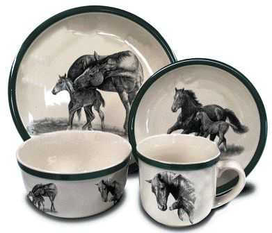 horse dinnerware | Horses Dinnerware - $199.50 -  sc 1 st  Pinterest & 131 best dish sets images on Pinterest | Roosters Kitchens and ...